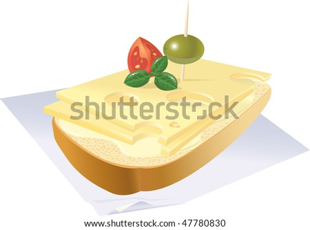 Cheerful sandwich with cheese, on a napkin. vector. illustration