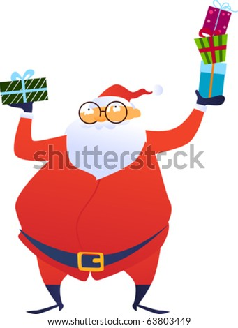 Cheerful Santa Claus giving  Christmas gift box