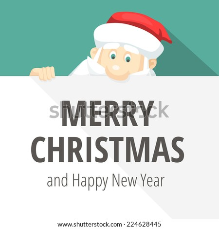 Cheerful Santa Claus looks at lettering - stock vector