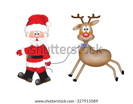 Cheerful Santa Claus with a cute smiling reindeer. Isolated on the white background. - stock vector