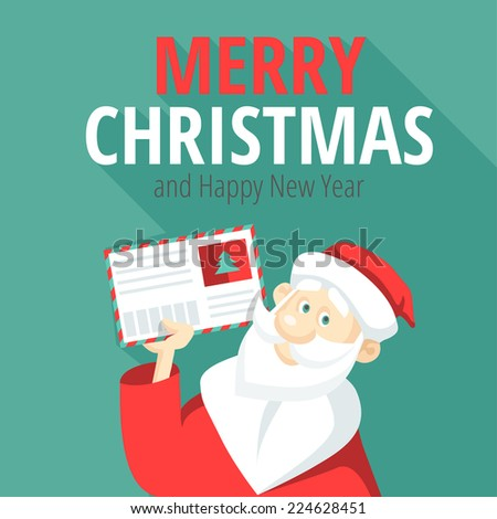 Cheerful Santa Claus with a letter in his hand - stock vector