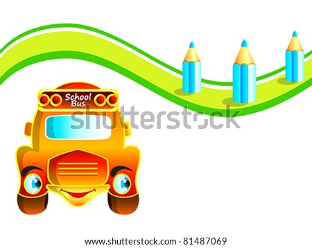 Cheerful school bus at the pencil road - stock vector