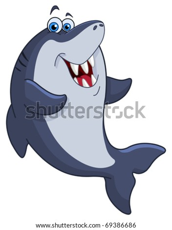 Cheerful shark - stock vector