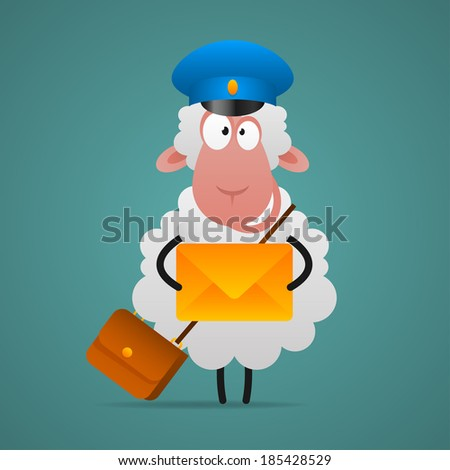 Cheerful sheep mailman holds letter - stock vector
