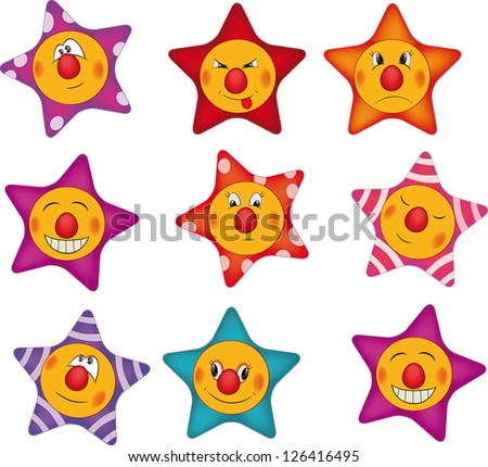 Cheerful small asterisks cartoon - stock vector