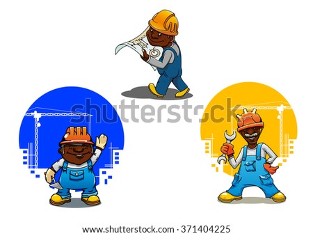 Cheerful smiling builder, bricklayer and engineer cartoon characters in orange hard hats with spanner, mason trowel and blueprint in hands. Construction industry design usage - stock vector