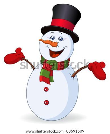 Cheerful snowman - stock vector