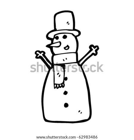 cheerful snowman cartoon - stock vector