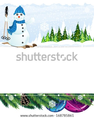 Cheerful snowman on skis in the winter forest. Abstract winter background.