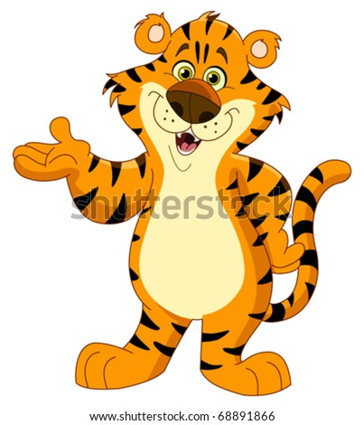 Cheerful tiger - stock vector