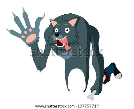 Cheerful werewolf, is waving his paw, holding a severed leg  - stock vector