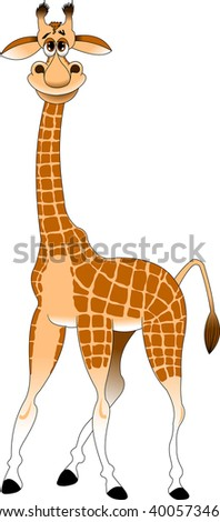 cheerful yellow giraffe on a white background, vector and illustration