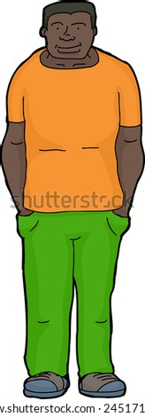 Cheerful young Black man in green pants with hands in pockets - stock vector