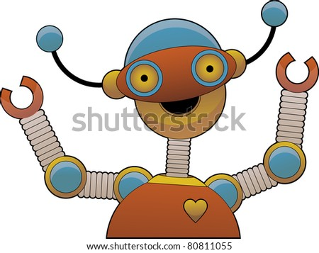 Cheering bright colorful shiny robot smiling - stock vector