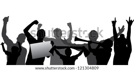 Cheering crowd or sports fans vector silhouettes. Layered - every figure is on a separate layer so can be easily adjusted to any liking. Fully editable. - stock vector