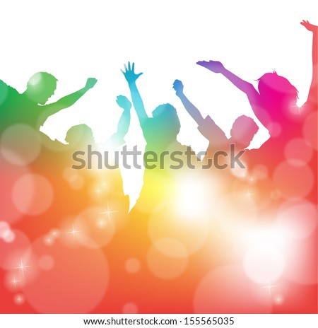 Cheering People at the Festival  - stock vector