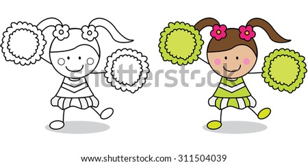 Cheerleader girl coloring book page - stock vector