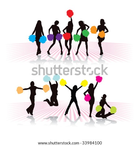 Cheerleader girls group with colorful pompoms - stock vector