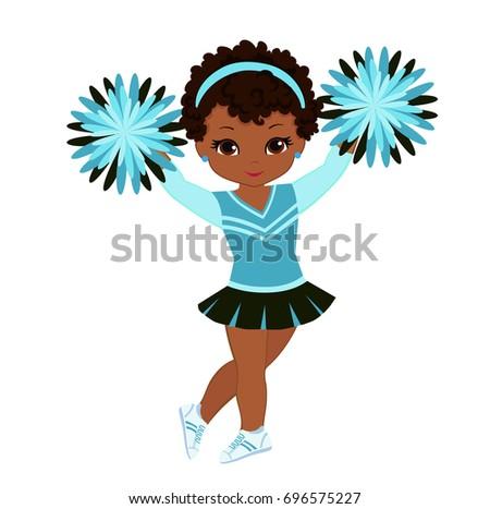 Cheerleader Turquoise Uniform Pom Poms Vector Stock Vector ...