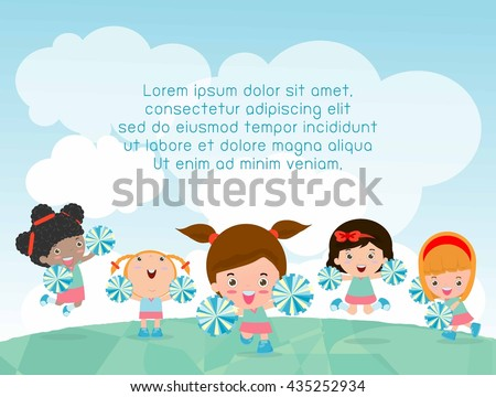 Cheerleaders Cheerleader Cheerleading Girl Kids Playing Stock Vector ...