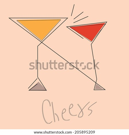 Cheers,abstract cocktail party design concept. - stock vector