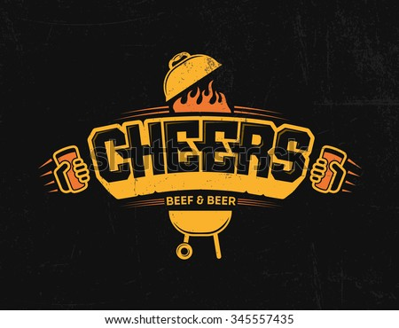 Cheers logo print lettering beer bbq beef and beer