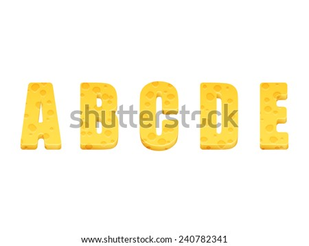 Cheese alphabet set. Letters A-E. Vector illustration - stock vector
