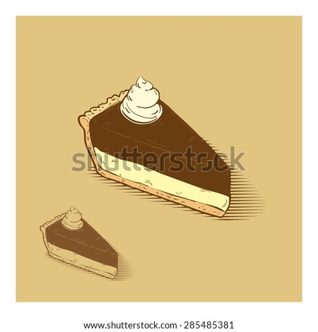 Cheese cake with chocolate and sprinkles on the top, hand drawn illustration - stock vector