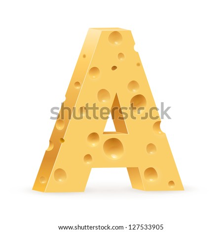 Cheese font A letter. Illustration on white - stock vector