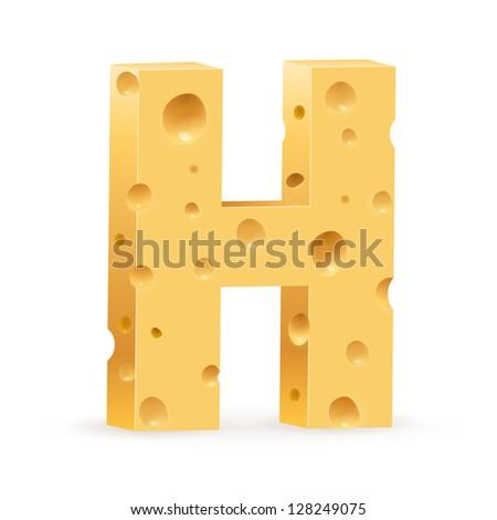 Cheese font H letter. Illustration on white. - stock vector