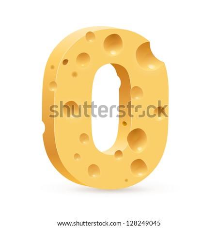 Cheese font O letter. Illustration on white. - stock vector