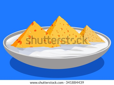 Cheese in the form of the Egyptian pyramids, in a saucer with sour cream, vector llustration - stock vector
