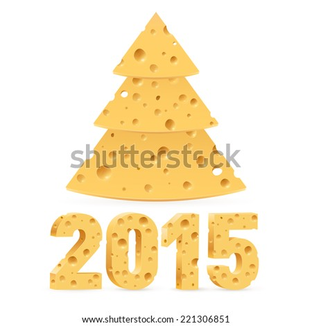 Cheese New Year tree and 2015 on white background. - stock vector