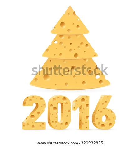 Cheese New Year tree and 2016 on white background - stock vector
