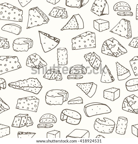 Cheese pattern. Seamless background with hand drawn different cheese. Vector illustration - stock vector