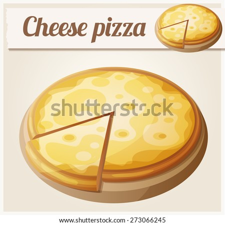 Cheese pizza. Detailed vector icon. Series of food and drink and ingredients for cooking. - stock vector