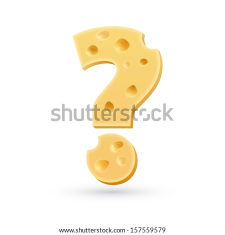 Cheese question mark. Symbol isolated on white. Vector design element - stock vector
