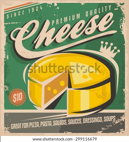 Cheese vintage poster design template. Premium quality cheese retro label design illustration on old paper texture. No gradients no effects just a fill colors. - stock vector