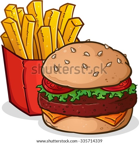 Cheeseburger and French Fries Cartoon - stock vector