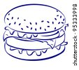 Cheeseburger. Blue and white icon. Illustration for design - stock vector