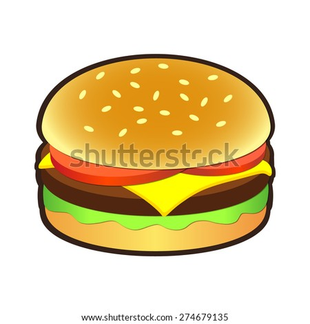 Cheeseburger or hamburger icon for signs and logos - stock vector