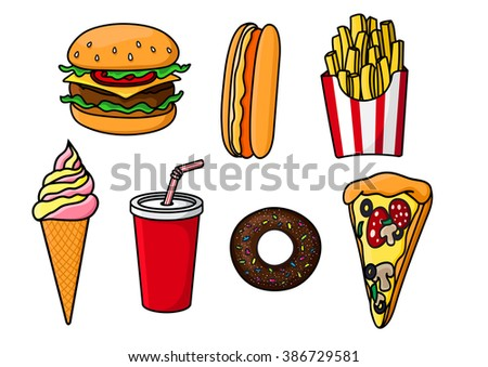 Cheeseburger with beef, cheese and vegetables, slice of pepperoni pizza, hot dog, sweet soda in paper cup, french fries in striped box, chocolate donut topped with sprinkles and ice cream cone