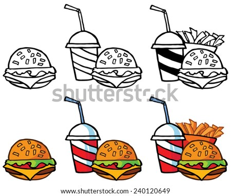 Cheeseburger With Drink And French Fries. Vector Collection Set - stock vector
