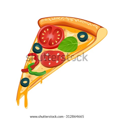 Cheesy pizza slice - stock vector