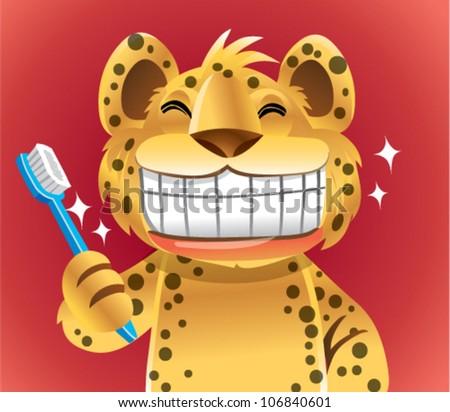 cheetah character brush teeth - stock vector