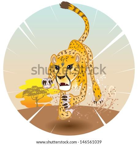 Cheetah King of Speed in Pursuit of Prey On Savannah - stock vector