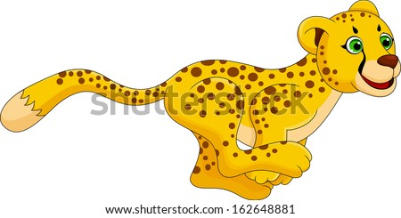 cheetah run cartoon - stock vector