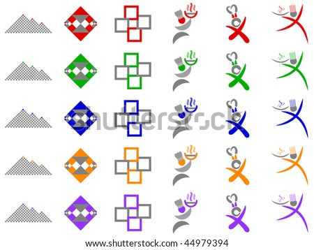 Chef and Abstract Squares Vector Icon Design Element Set - stock vector