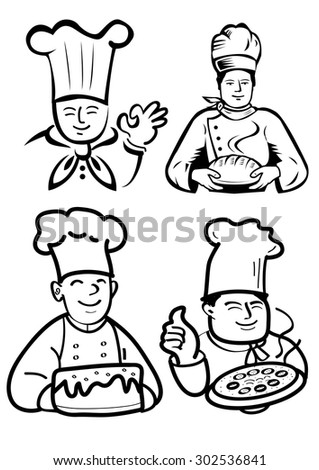 Chef and baker - stock vector