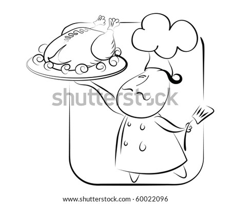 Chef and chicken or turkey.Vector graphic symbol of good food on white. - stock vector